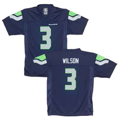 Seattle Seahawks Russell Wilson Blue Youth NFL Jersey (Youth XL)