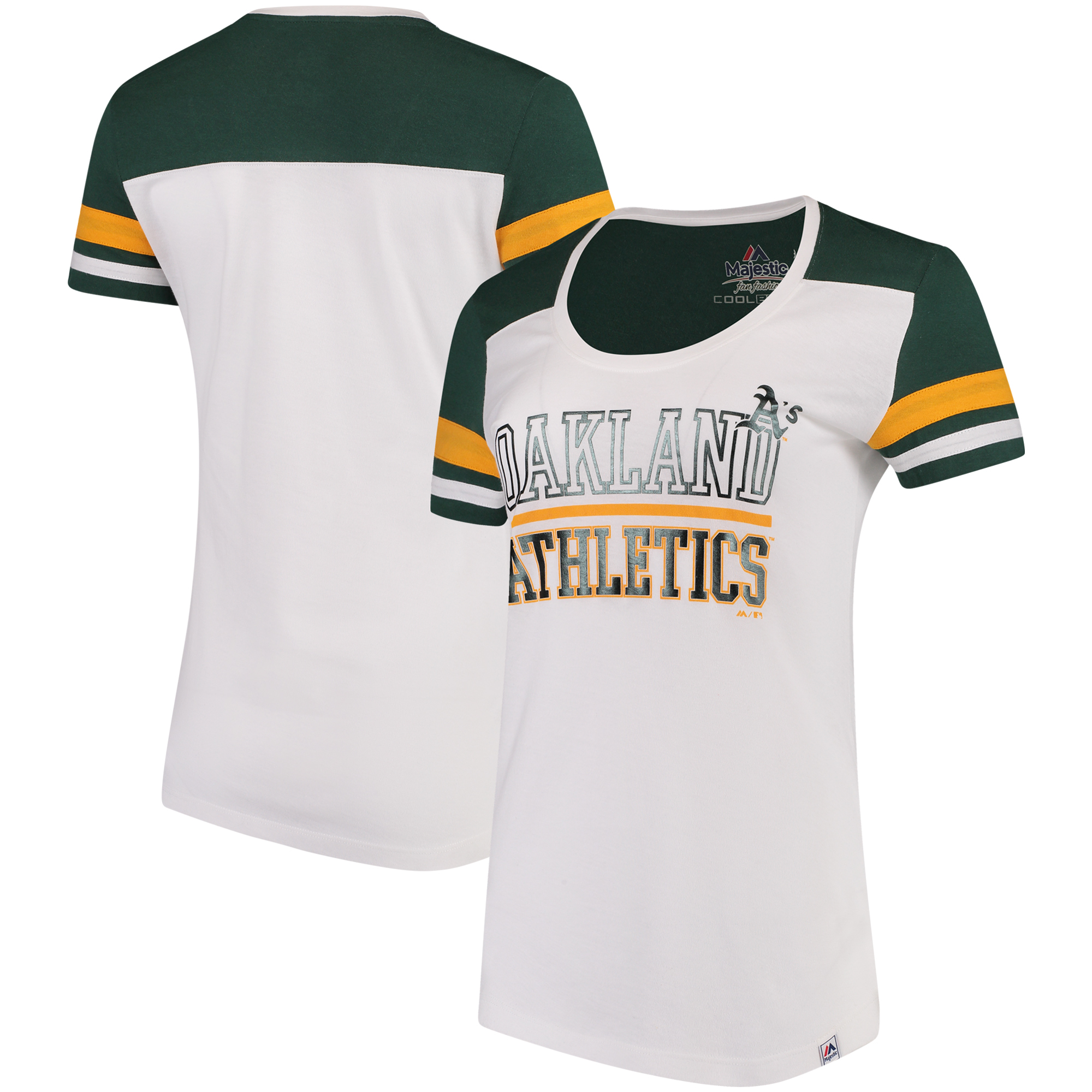 Oakland Athletics Majestic Women's Overwhelming Victory T-Shirt - White/Green