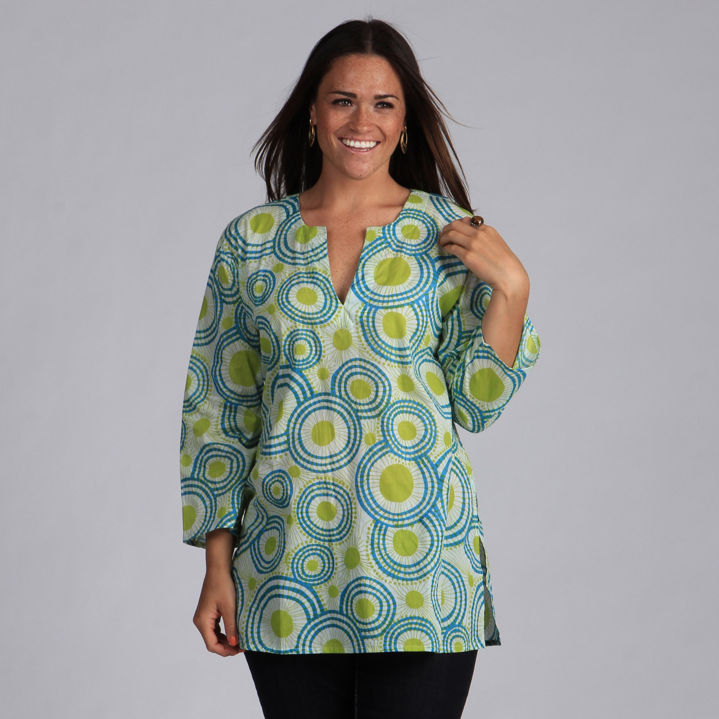 Green and Blue Circles Cotton Tunic (India) Green & Blue Circle Tunic-Med