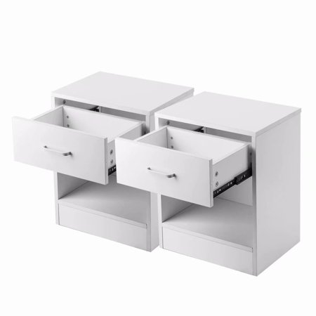 2PCS Bedroom Furniture White Wooden Night Stand with Storage Drawers ()