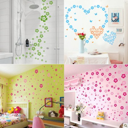 Pink Butterfly Stool - 11Color 124 Flowers&7 Butterfly Wall Sticker Decal DIY Removable Home Decor Gift DIY,rose red color