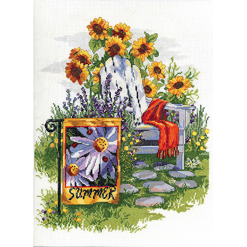 "Summer Garden Flag Counted Cross-Stitch Kit, 11"" x 13"", 14-Count"
