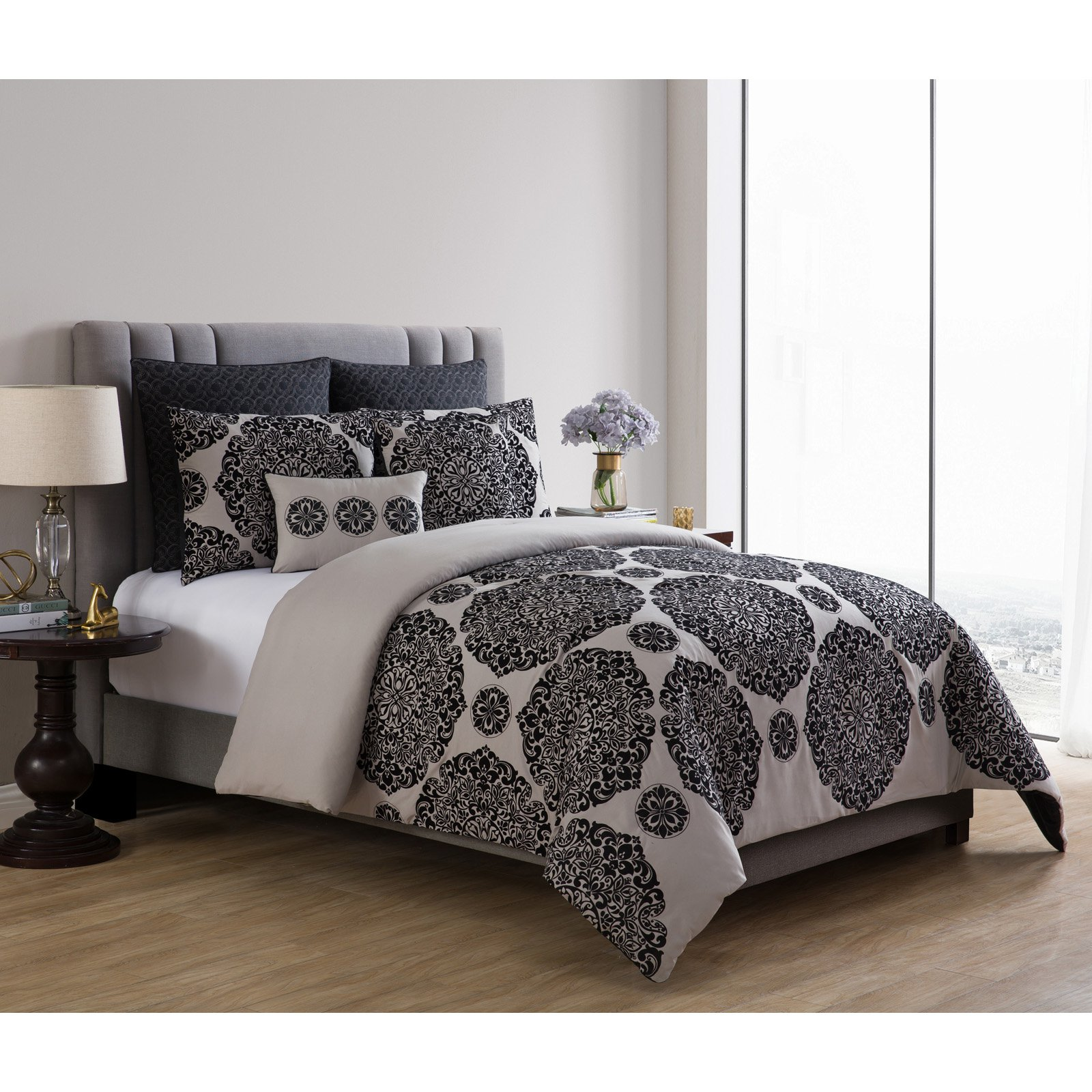 VCNY Home Tayden Flocked Medallion 7 Piece Comforter Bedding Set, Euro Shams Included