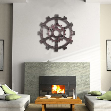 4 Wooden Wall Art Hanging (Vintage Retro Industrial Wood Wooden Gear Art Bar Cafe Wall Hanging Home Decor )