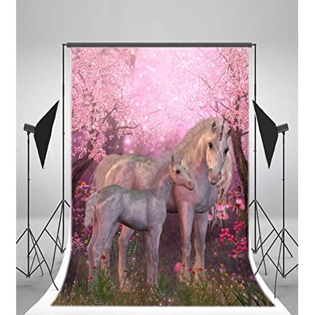GreenDecor Polyester Unicorn Backdrop 5x7ft Fairyland Enchanted Forests Flowers Blossoms Elf Baby Shower Theme Background Children Birthday Party Decoration - Enchanted Forest Theme Party