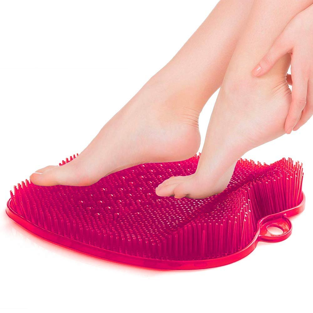 Foot Scrub Mat in Pink, In Shower Foot Scrubber Brush with Suction, Acupressure Foot Mat, Rubber Feet Cleaner for Shower and Bathtub, Toe Scrubber, Feet Circulation Massager, No-slip Feet Cleaning Mat