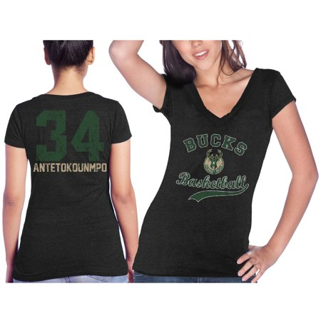Giannis Antetokounmpo Milwaukee Bucks Majestic Threads Women's Name &  Number Tri-Blend V-Neck T-Shirt - Black
