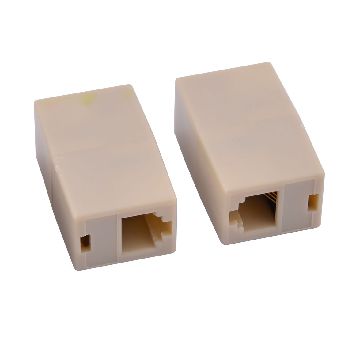 3pcs RJ45 8P8C Female to 2 Female Coupler Enternet Adapter Beige