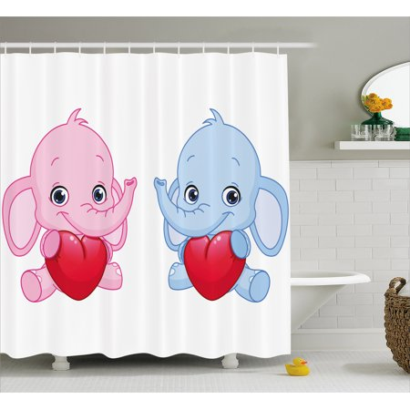Elephant Nursery Decor Shower Curtain, Pink and Blue Kid Infant Elephants Holding Hearts Smiling Twins, Fabric Bathroom Set with Hooks, 69W X 70L Inches, Pink Blue Red, by Ambesonne ()