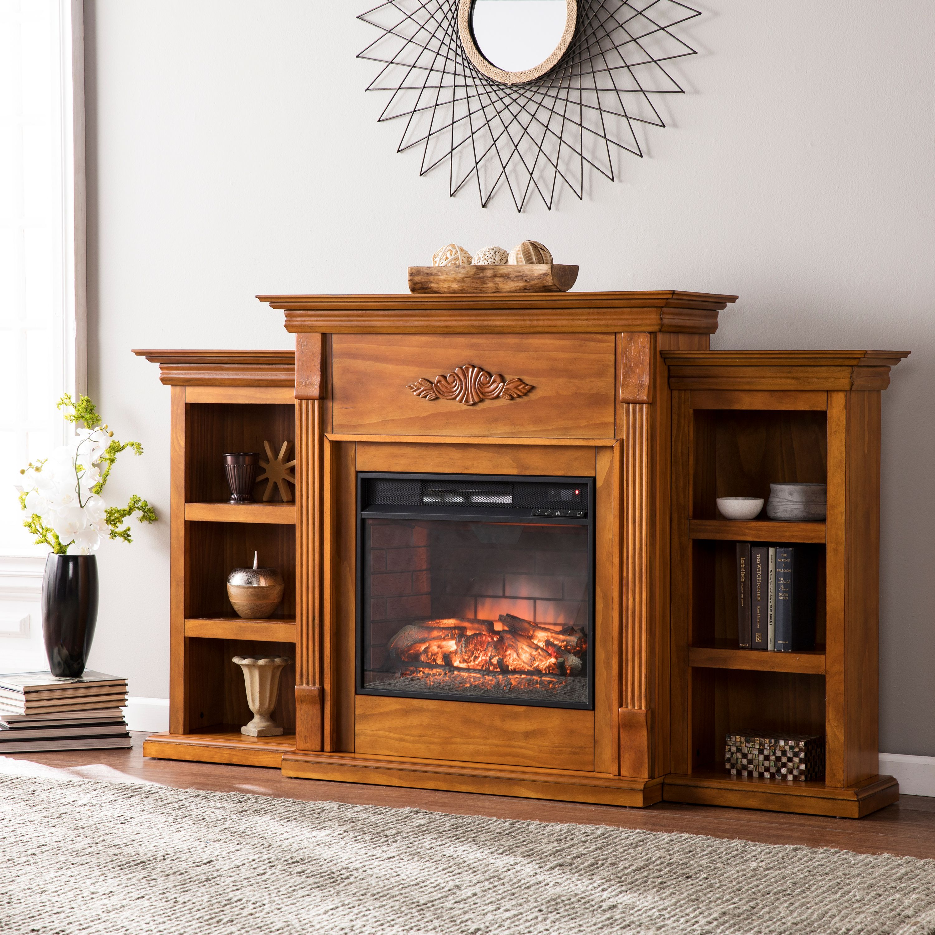 """Griffin Infrared Electric Fireplace with Bookcases, For TV's up to 60"""", Glazed Pine"""