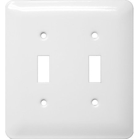 Stainless Steel Metal Wall Plates Midsize 2 Gang Toggle Switch - White Switch Tips