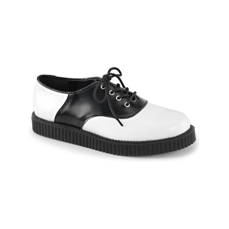mens black and white oxfords saddle leather shoes platform creepers mens sizing - Black White Saddle Shoes