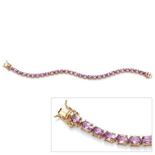 PalmBeach Jewelry 49661 13. 50 TCW Oval-Cut Genuine Amethyst 18k Yellow Gold Over Sterling Silver Tennis Bracelet 7 1/2''