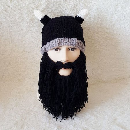 Viking Beard Hats (Fancyleo 2019 Men's Barbarian Viking Beard Beanie Horn Hats Handmade Warm Birthday Cool Gifts Funny)