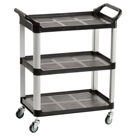 Heavy Duty Bus Cart with Open Shelving, Easy-Grip Side Handles and Swivel Wheels, Plastic and Aluminum (Black) (UC3SSMBL)