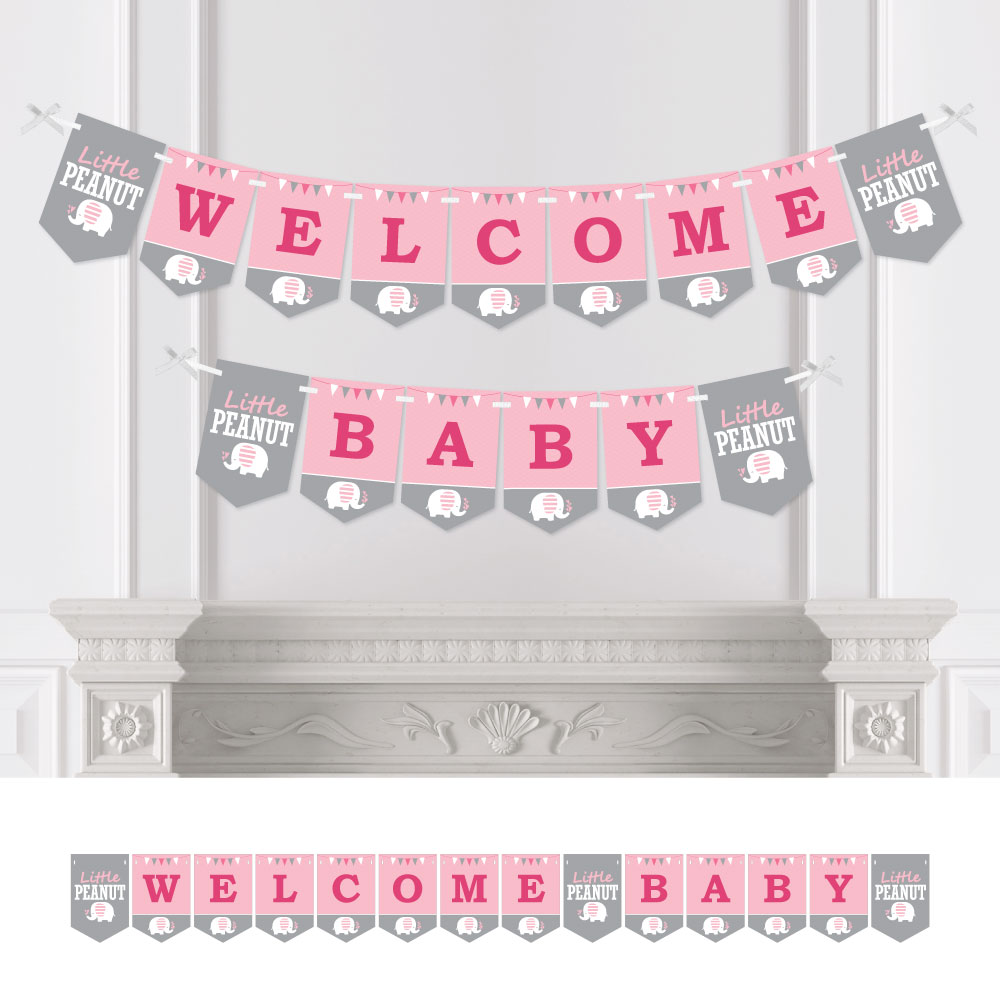 Pink Elephant - Girl Baby Shower Bunting Banner - Party Decorations - Welcome Baby