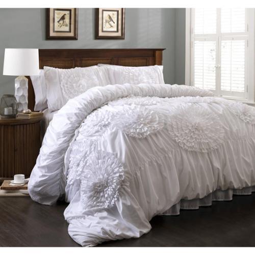 Lush Decor Serena 3 Piece Comforter Set White King