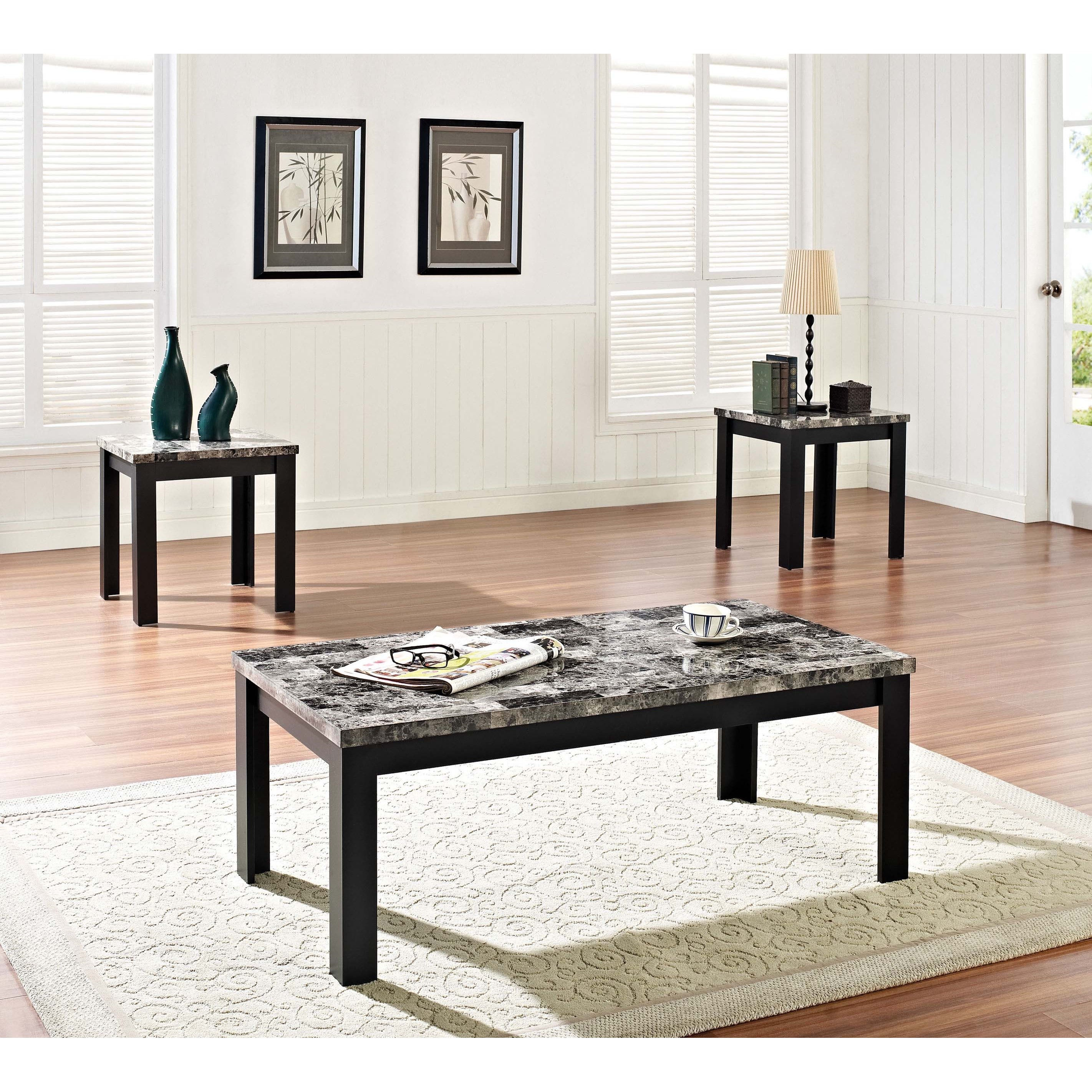 Faux Marble 3 Piece Coffee End Table Set Acme Furniture Finely