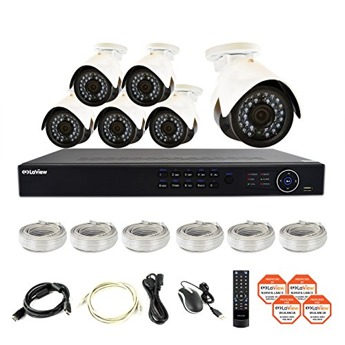 LaView 6 1080P IP Camera Security System, 8 Channel 1080P IP PoE NVR w/2TB HDD and 6 1080P 2MP White Bullet Surveillance