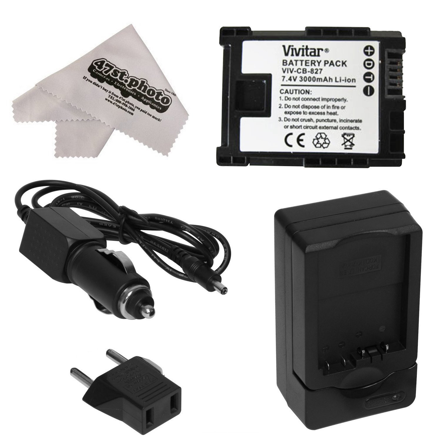 Canon BP-827 BP827 Lithium Ion Replacement Battery Pack + Charger for Canon HF S10 S11 S20 S21 S30 G10 G20 S100 M30 M31 M32 M40 M41 M300 M400 XA10 Camcorders with Microfiber Cloth