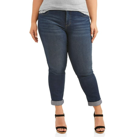 Just My Size Women's Plus-Size Boyfriend 5 pocket Stretch Jean 5 Pocket Raw Denim
