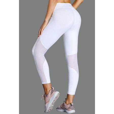 0f0bc2fcce7e5e White High-Rise Mesh Patchwork Gym Sport Yoga Leggings - image 1 of 3 ...