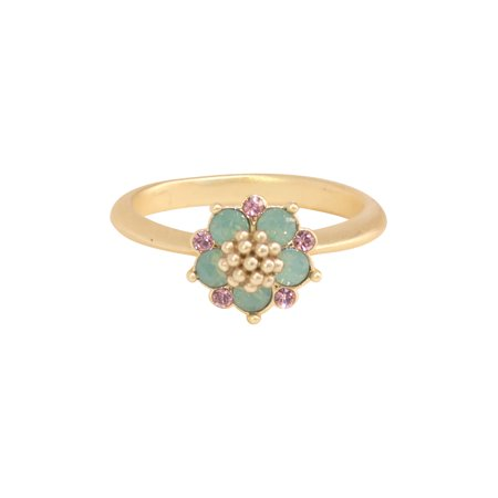 Gold Plated Pacific Opal Swarovski Crystal Flower with Light Rose Accents Ring