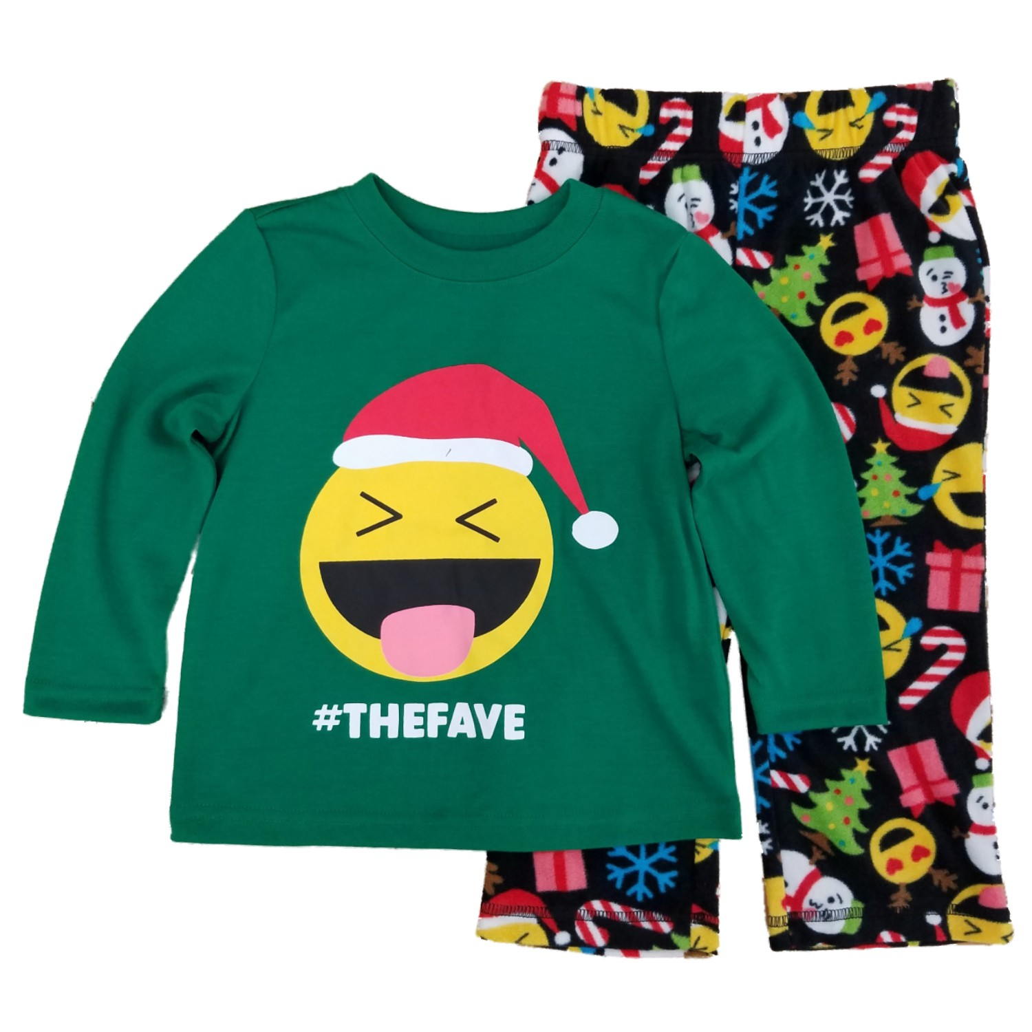 Toddler & Little Boys #The Fave Smiley Face Emoticon Christmas Pajama Set