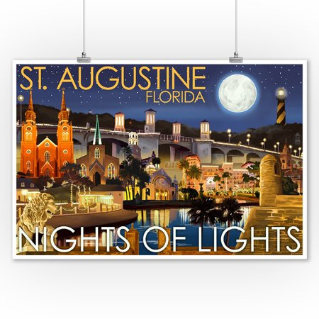 St. Augustine, Florida - Nights of Lights - Night Scene - Lantern Press Artwork (9x12 Art Print, Wall Decor Travel Poster)