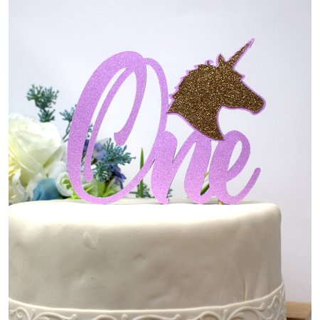 All About Details Unicorn Theme One Cake Topper 1pc 1st Birthday Party Decoration Glitter Pastel Purple Gold