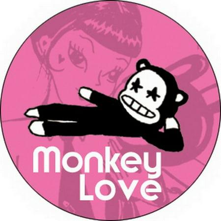 Miss Kitty Monkey Love Button -