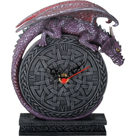 Purple Dragon Laying on Celtic Design Clock Fantasy Home Desk Decoration New