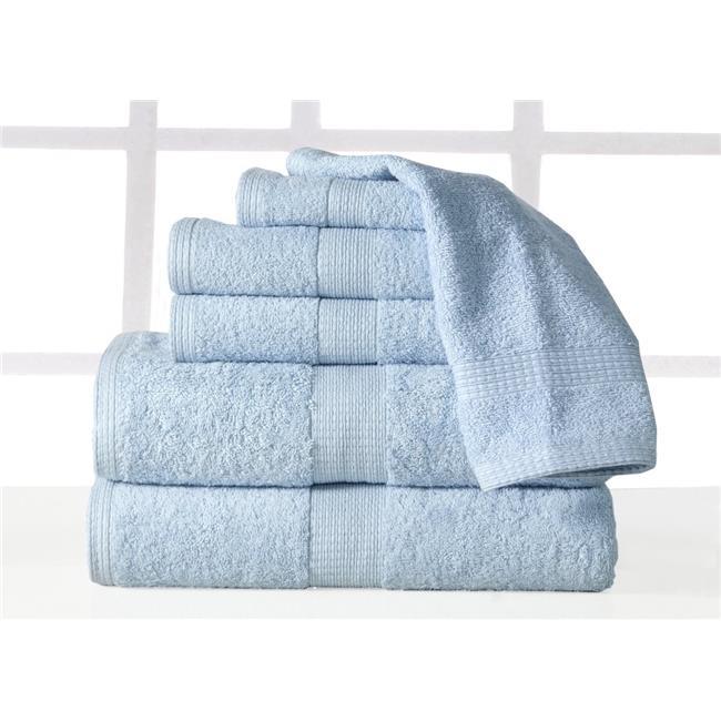 Supersoft Plush 6 piece Luxury, Low Twist Cotton Bath Towel Set - Blue - image 1 de 1