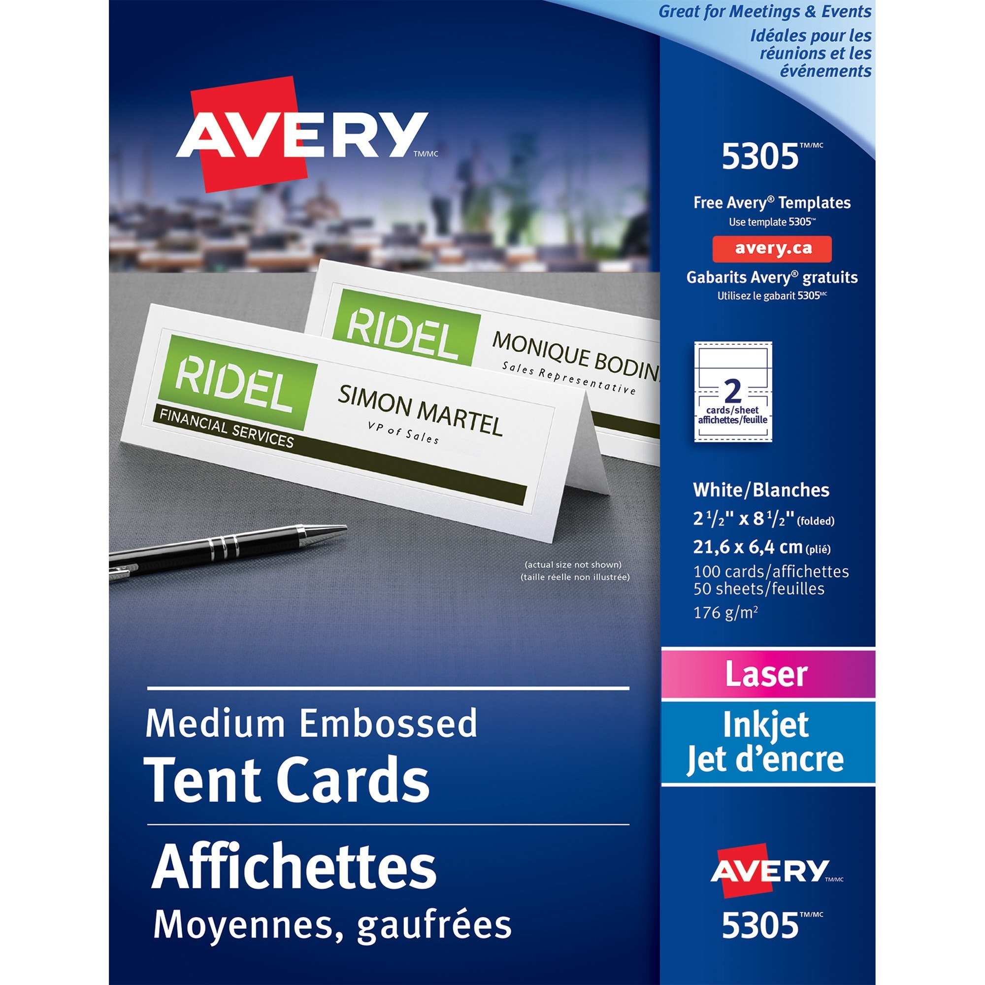 Avery Medium Embossed Tent Cards, White, 2 1/2 x 8 1/2, 2 Cards/Sheet, 100/Box