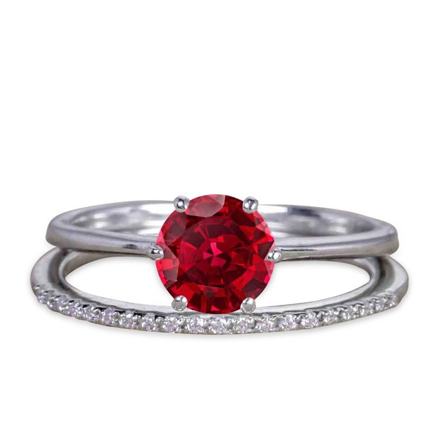 1.25 Carat Round Ruby Wedding Set