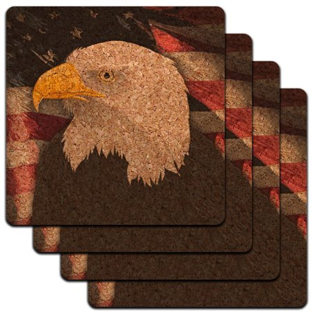 American Bald Eagle Flag USA Patriotic Low Profile Cork Coaster Set