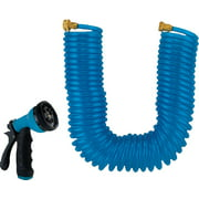 Landscapers Select Coil Hose With Nozzle Set, Blue, 3/4 In Od X 50 Ft L