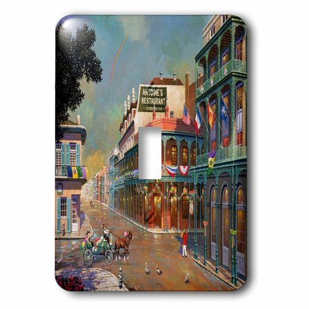3dRose Old New Orleans Painting, 2 Plug Outlet Cover (New Orleans Outlet)