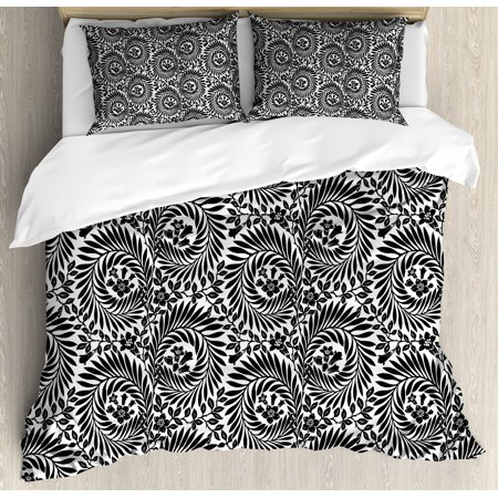 Black And White Queen Size Duvet Cover Set Damask Inspired Fl Arrangement Foliate Motif Victorian