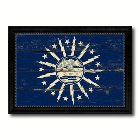 Buffalo City New York State Flag Vintage Canvas Print Black Picture Frame Home Decor Wall Art Gifts - - Buffalo New York Halloween Events