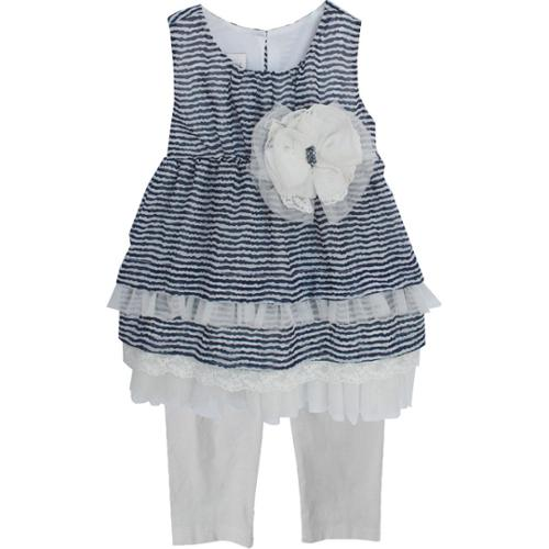 Isobella & Chloe Baby Girls Navy Bridget Two Piece Pant Outfit Set 9M