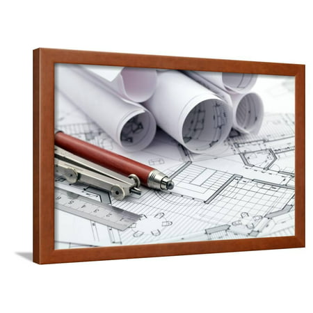 Rolls of architecture blueprint and work tools ruler pencil rolls of architecture blueprint and work tools ruler pencil compass framed print wall art by vladimir walmart malvernweather Images