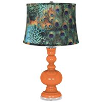 Color Plus Modern Table Lamp Celosia Orange Glass Apothecary Peacock Print Drum Shade for Living Room Family Bedroom Bedside