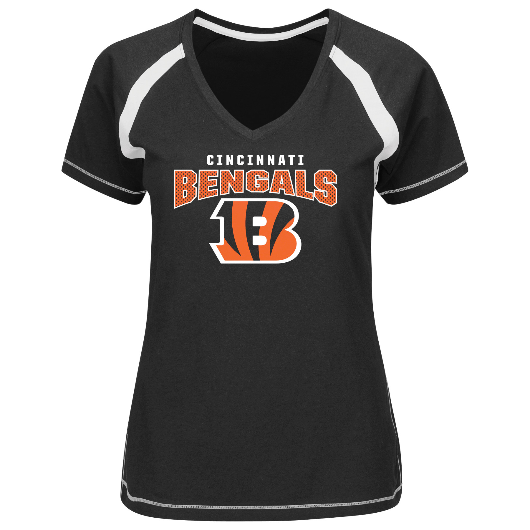 Cincinnati Bengals Majestic Women's Game Day Tradition V-Neck T-Shirt - Black
