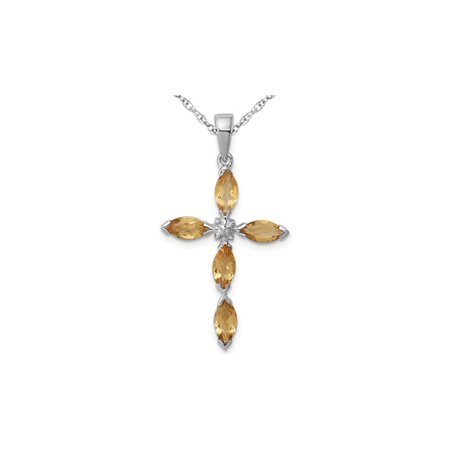 9/10 Carat (ctw) Natural Citrine Cross Pendant Necklace in Sterling Silver with Chain