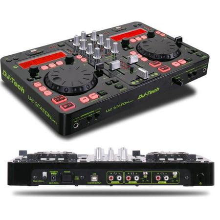 dj tech u2stationmkii twin mp3 player twin usb dock 2ch dj mixer 3 band eq 4 effects. Black Bedroom Furniture Sets. Home Design Ideas