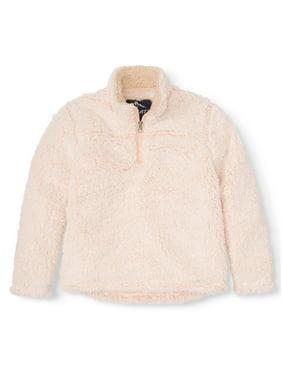 Climate Concepts Quarter zip fluffly fleece pullover (little girls & big girls)