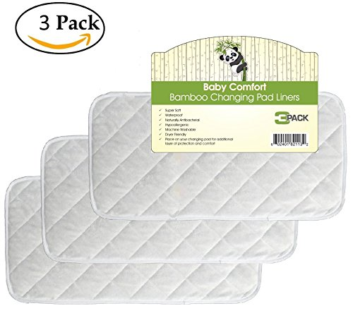 """Quality Bamboo Changing Pad Liners 3 Pack, Quilted, Machine Washable & Dryer Friendly, Large 26"""" x 12.5"""""""