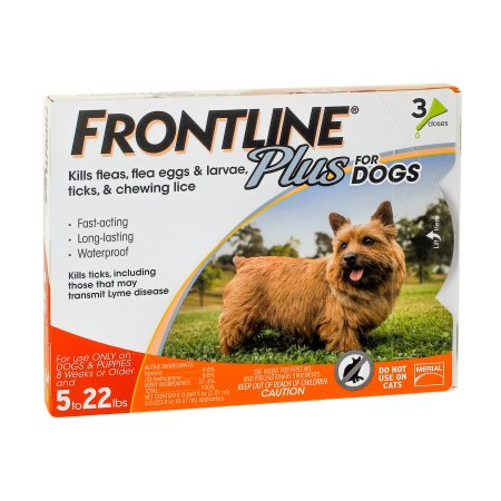 (2 Pack) FRONTLINE Plus for Dogs Small Dog (5-22 pounds) Flea and Tick Treatment, 3 Doses