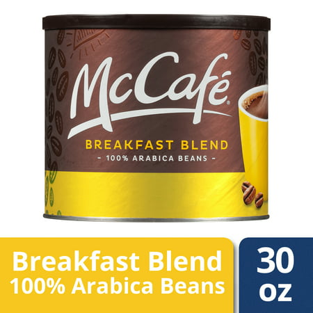 Coffee Breakfast Set - McCafe Light Roast Breakfast Blend Ground Coffee, Caffeinated, 30 oz Can